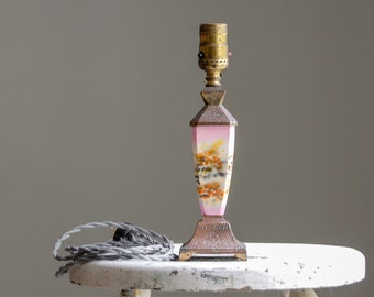 Pastel Pink Art Nouveau Table Lamp - Marked Made In Japan