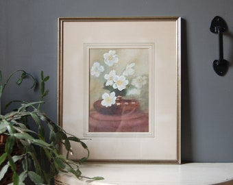 White Flowers Original Watercolor Painting - Cherry Blossoms Framed Art