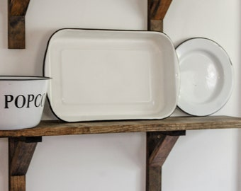 White and Black Enamelware Cooking Pan - Rustic Kitchen Decor