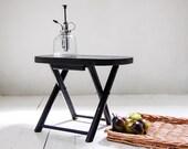 Black Wood Folding Stool- Small Plant Stand