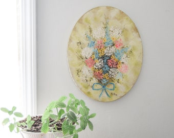 Oval Painting Of A Bouquet of Pastel Field Flowers - Shabby Cottage Decor