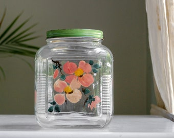Anchor Hocking Glass Canister Jar - Hoosier Jar with Green Lid and Pink Flowers - Farmhouse Kitchen Storage