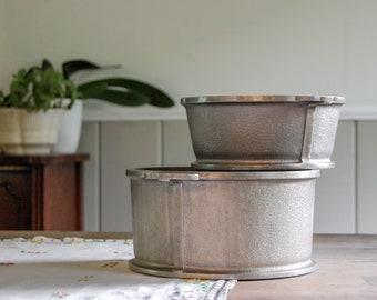 Set of 2 Hammered Aluminum Pots - Mid Century Guardian Service Cookware