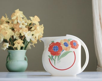 Colorful Flowers Ceramic Water Pitcher - Kitschy Retro Kitchen