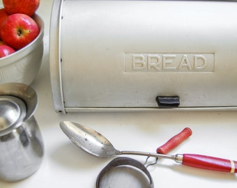 Rustic Bread Box - Mid Century Kitchen Decor- Kromex Aluminum