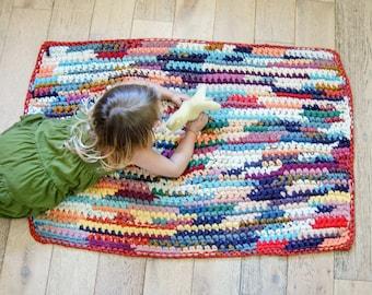 Vintage Colorful Rag Rug - Hand Crocheted Nursery Rug