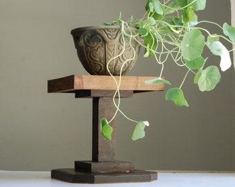 Dark Wood Plant Stand - Handmade Inlay Design - Small Pedestal Table