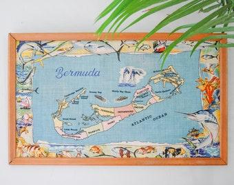 Framed Bermuda Blue Map Tea Towel - Retro Colorful Fish Wall Art - Kids Room Decor