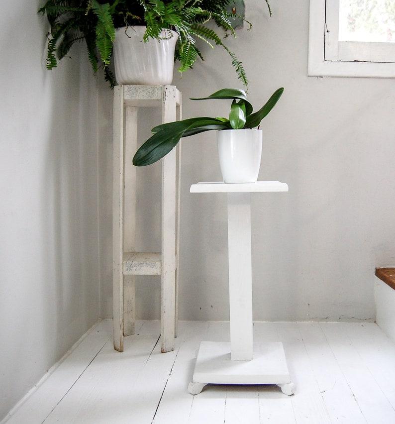 White Plant Stand Farmhouse Decor