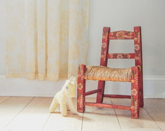 Red Folk Art Child's Chair With Woven Rush Seat - Nursery Decor