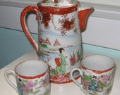 Japanese Satsuma Kutani Porcelain Geisha 7 quot Tea Pot and Two Tea Cups Hand Painted