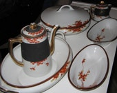 Japanese Satsuma Gold and Maple Leaf Tea Set Plus 2 Tureens with 2 Celery Dishes