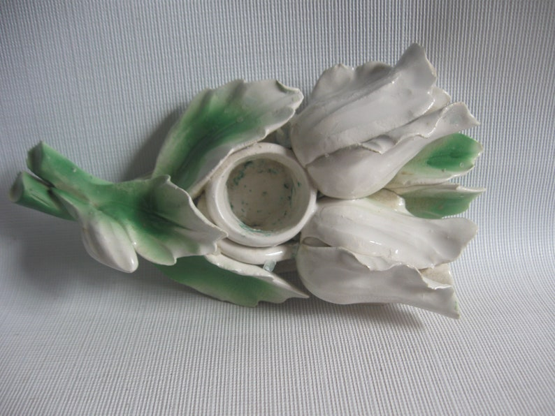PAIR Made in Italy Capodimonte Style White RoseTulip Candleholders Hand Formed Vintage Candlestick Holders
