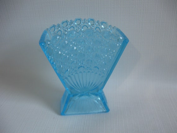 Pressed Glass Fan Vase Small Blue Cut Glass Style Etsy