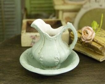 Maison de Poupées Blanc Floral Manteau horloge céramique échelle 1:12 miniature accessoire