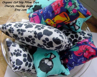 Catnip Pillow Toys 2 Large, Huggers and Squares, Cat Nip Toys, Your Cats will LOVE these, handmade,