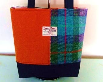 Harris Tweed and Denim Hand Made Padded Shoulder Bag with Funky Lining, Internal Zip Pocket and Magnetic Snap