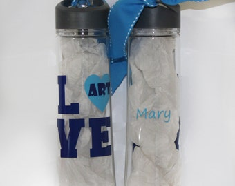 "Personalized ""LOVE"" Occupation Waterbottle - Drink - Travel - Preschool - Teacher - Appreciation - Thank you Gift - End of Year - Student"