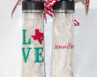 "Personalized ""LOVE State"" 22oz plastic waterbottle / 25oz stainless steel water bottle - Thank You Gift"