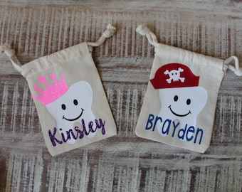 Tooth Fairy Pouch Personalized Pirate or Princess Theme