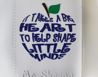 "Personalized Teacher Clip Board - ""It Takes a Big Heart to Help Shape Little Minds"" - Thank You - Christmas - End of Year - School - Gift"