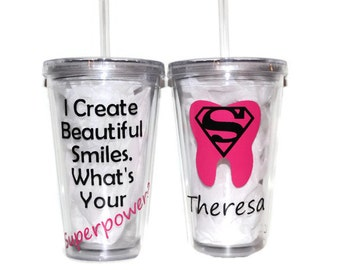 "Personalized ""Dentist Appreciation"" AcrylicTumbler 16oz or 20oz - Thank You Gift - Beautiful Smiles - ""What's your Superpower?"" - Occupation"