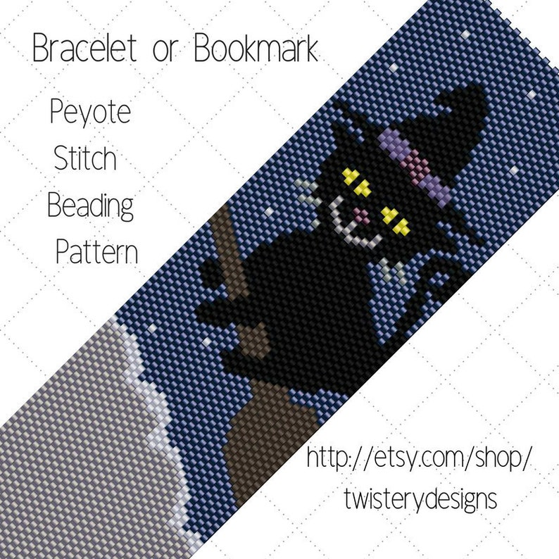 PDF instant download Black Kitten on a Broomstick Halloween Peyote Stitch Odd Count Beading Pattern for Bracelet or Bookmark