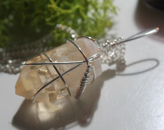 Wire wrapped pale Tangerine Quartz long necklace