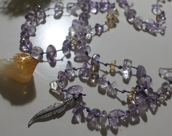 Ametrine hemp long feather necklace