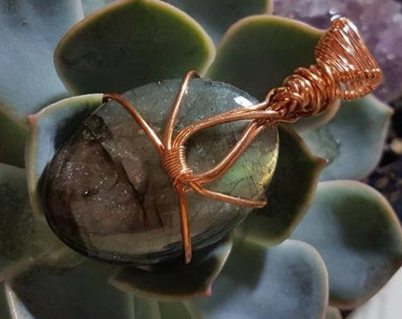 Copper wrapped Labradorite Pendant