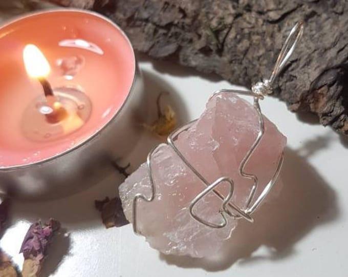Raw Rose Quartz pendant - Rose Quartz - Self love - Crystal Pendant