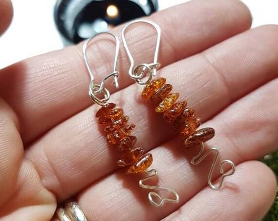Honey brown Baltic Amber earrings