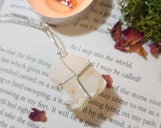 Raw White Chalcedony necklace