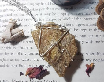 Wire wrapped Raw Amber necklace