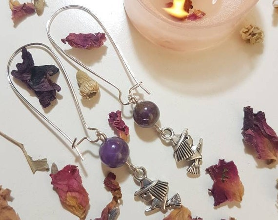 Amethyst and little witch earings
