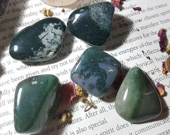 Large Moss Agate tumble stone
