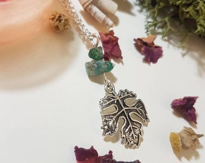 Raw Emerald leaf necklace