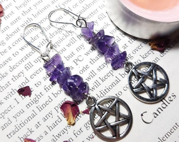 Amethyst Pentacle earrings