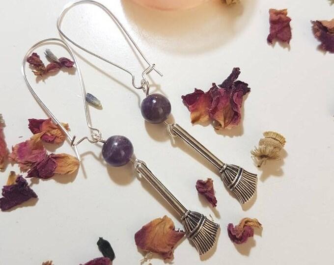 Amethyst Broomstick earrings