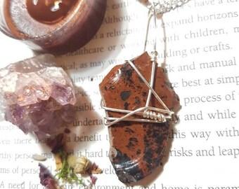 Raw Mahogany Obsidian necklace