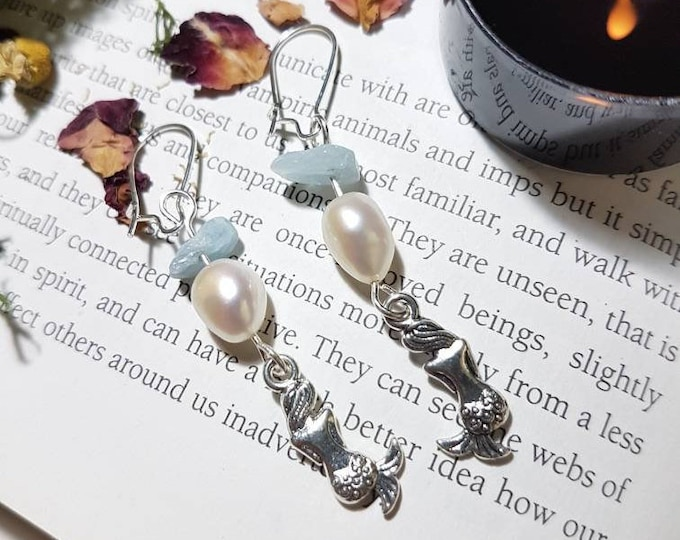 Freshwater pearl Aquamarine and mermaid Earrings