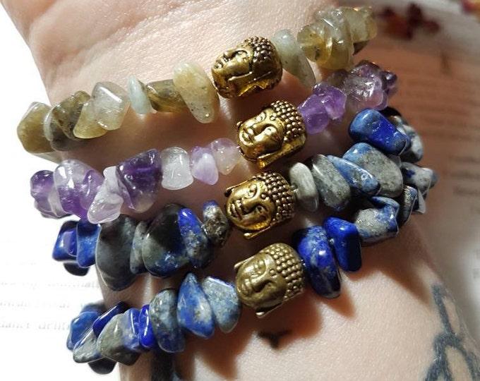 Buddha gemstone elastic bracelet