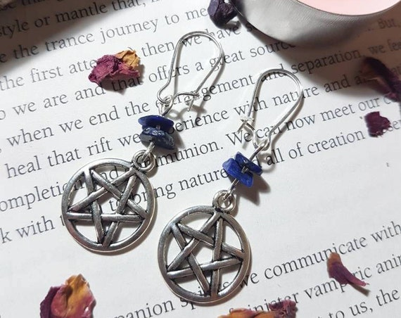 Witchy Lapis Lazuli pentacle earrings