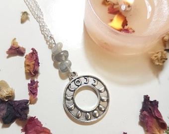 Labradorite moon phase necklace