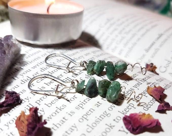 Raw Emerald earings