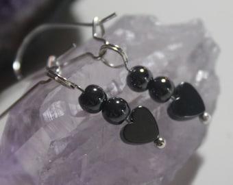 Tiny Heart Hematite Earrings