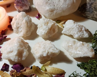 Champagne Calcite in Snow White Quartz cluster - Crystal clusters