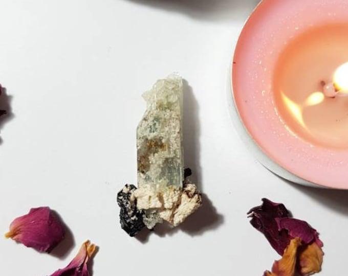 Aquamarine with Black Tourmaline - Aquamarine - Black Tourmaline - Rare Crystals