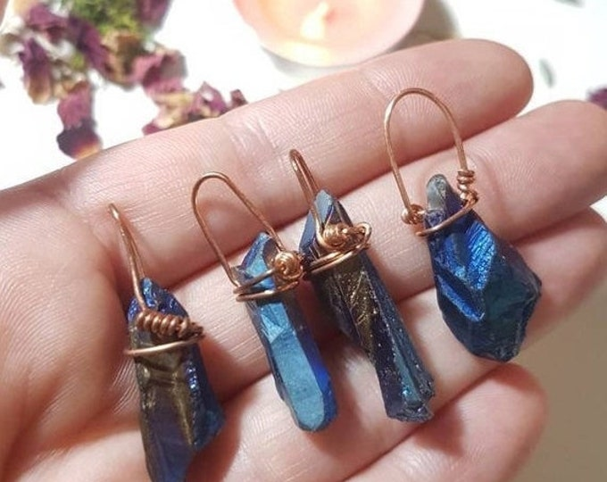 Copper wire wrapped Flame Aura Quartz pendant