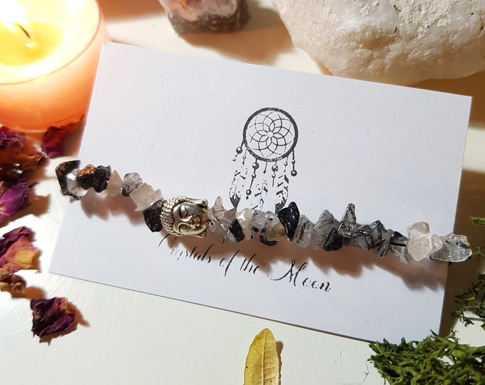 Black Tourmaline in Quartz bracelet with Buddha bead